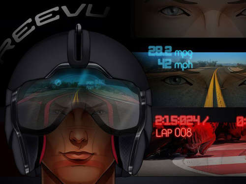 Motorradhelm mit Head-up-Display